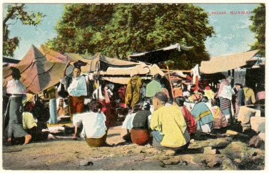 A Bazaar in Burma. Vintage postcard