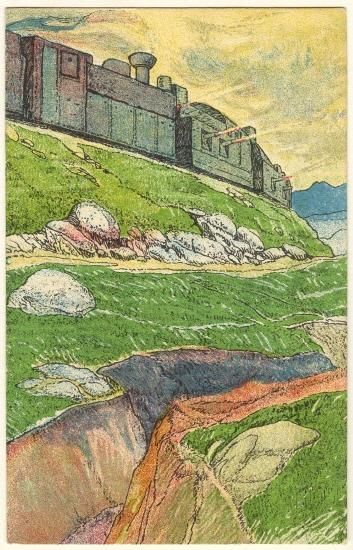 Art Deco Litho Postcard. Balkan Railway.