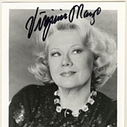 Virginia Mayo Autograph, hand signed Photo. CoA