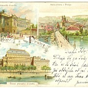 Old Prague: Vintage Color Postcard 1898