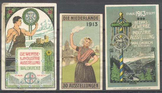 3 Art Nouveau Labels related to Exhibition. Lithos.