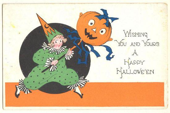 Old Halloween Postcard. Clown and Pumpkin. 1922