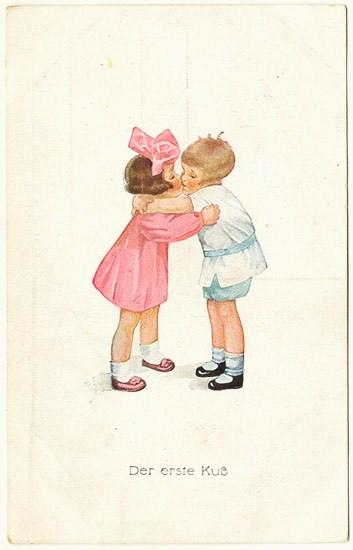 The First Kiss: Cute Vintage Postcard. Ca. 1920