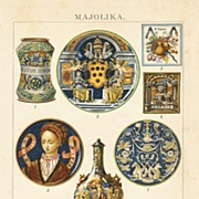 1898: Majolica : Decorative, antique Chromo Lithograph