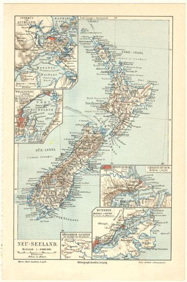 New Zealand vintage Map from 1902. Lithograph.