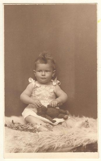 Baby Girl with Teddy Bear. Old Photograph