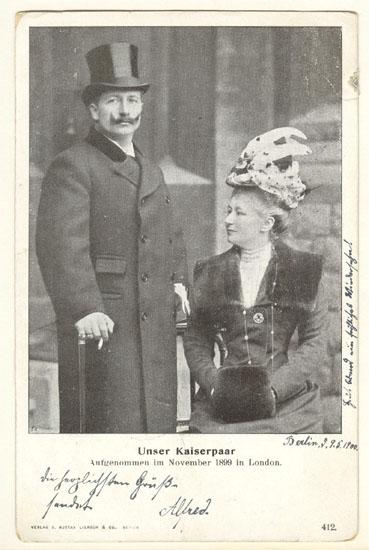 1899: Emperor Wilhelm and Wife in London. Vintage Postcard.