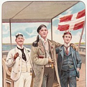 1899: Decorative Postcard of 3 Sailors. Chromo Lithograph.