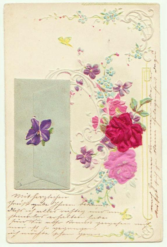 1901: Embossed Greeting Postcard with small Envelope