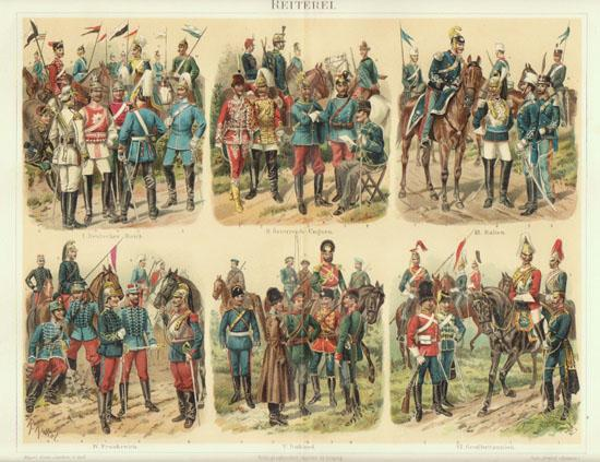 Cavalry: Old Chromo Lithograph. Decorative, 1898!