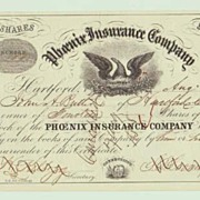 1858, Phoenix Insurance Company. Decorative Stock Certificate