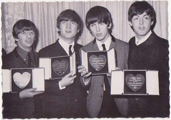 The Beatles receiving Medals: Vintage Postcard from 1963