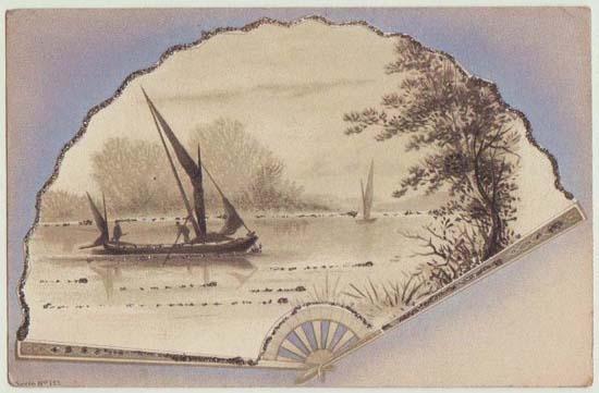 Old Japan: Decorative Postcard, Fan Shape.