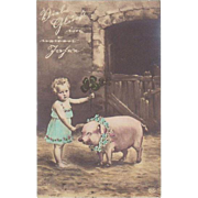 1906. New Years Postcard with Girl and Pig