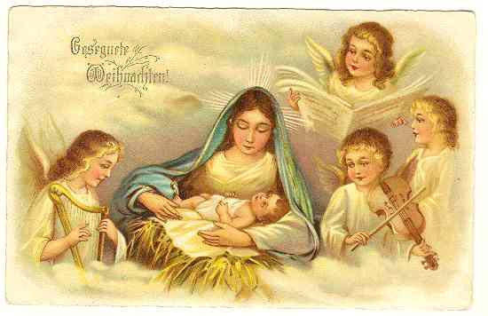 Merry Xmas: Chromo Litho Postcard. Angels.
