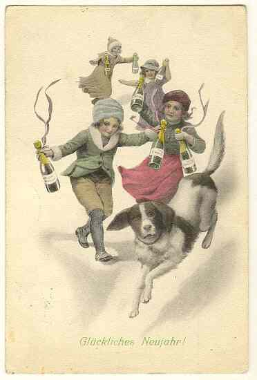 Art Deco Postcard: Happy New Year. Kids and a Dog.
