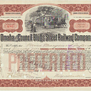 Antique Stock Certificate: Omaha and Council Bluffs Street Railway Company