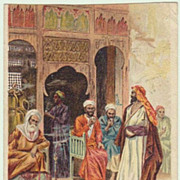 Litho Postcard: Arab Café in Cairo. 1900.