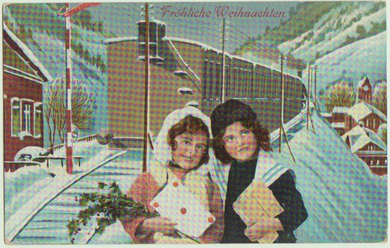 Xmas Postcard Girls and Train. 1911