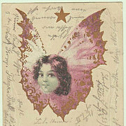 Girl as Butterfly: Cute Litho Postcard from 1904