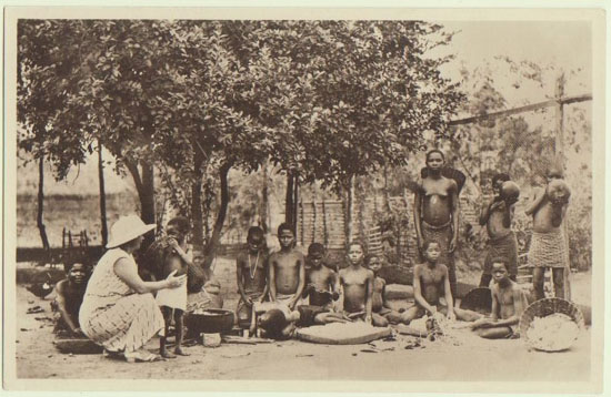 Missionary in Africa. Vintage Photo Postcard
