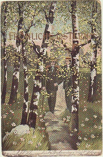 Happy Easter: Art Nouveau Postcard. Couple and Birch Trees.