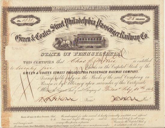 1863: Green & Coates Street Philadelphia Passenger Railway Stock Certificate.