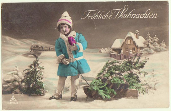 Merry Xmas: Vintage Postcard Girl with Gift and Train. 1925