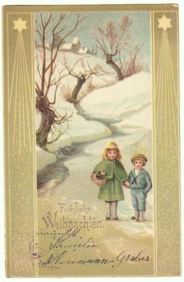 Art Nouveau Xmas Postcard from 1905