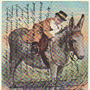 Boy riding a Donkey: Vintage Postcard from 1903