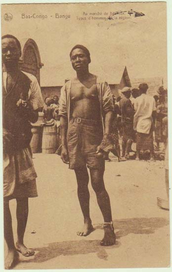 Belge Congo: Men at a Market. Vintage Postcard as Mail. 1929