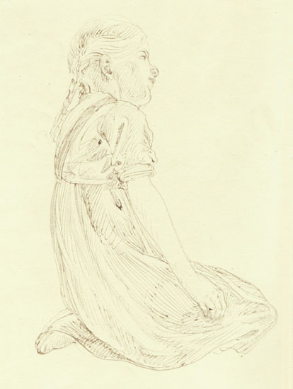 Art Nouveau Drawing. Girl, kneeing.