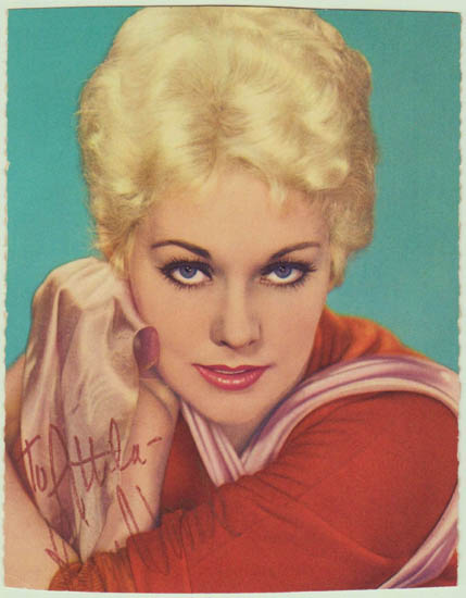 Kim Novak Autograph. Early signed Postcard. CoA