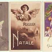 3 European New Years Postcards with Angels. 1930