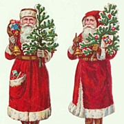 2 Santas. Embossed Die Cuts from ca. 1910