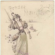 Art Nouveau New Year's Postcard. Lady Hunter and Piglet. 1902