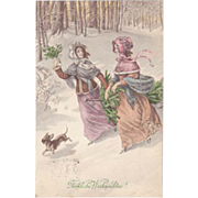 Christmas Postcard by Munk. Art Nouveau Ladies and Dachshund from 1913