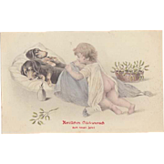 Dachshund and Baby. Art Nouveau New Years Dog Postcard from 1908