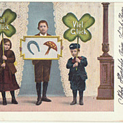 New Year's Postcard with large Clover leaves. 1904