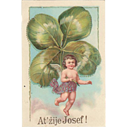 New Years Postcard with huge Clover-leaf. Litho 1914