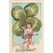 Postcard with huge Clover-leaf. Litho 1914