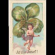 Postcard with huge Clover-leaf. Litho 1914