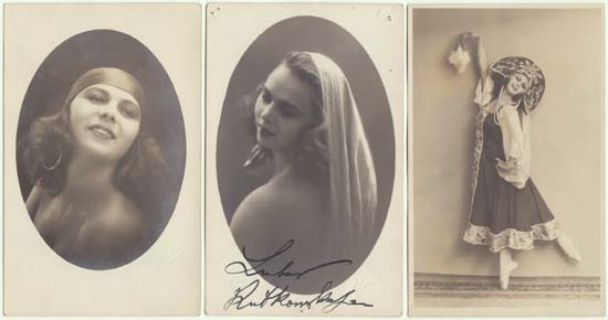3 Photos of an attractive Actress and Dancer: Studio Photos, 1920s