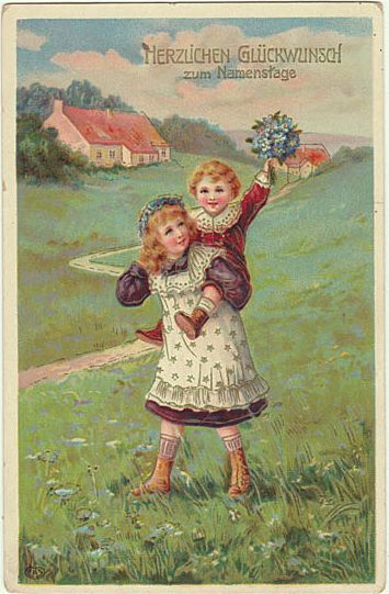 Vintage Name Day Greeting Card Kids With Flowers 1912