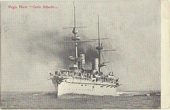 Italian Cruiser Carlo Alberto. Vintage Postcard from 1907