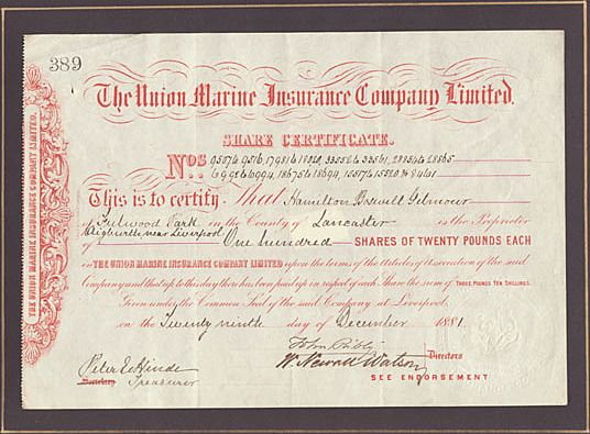The Union Marine Insurance Co. Ltd. Antique Stock ...