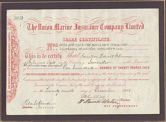 The Union Marine Insurance Co. Ltd. Antique Stock ...