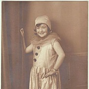 Sweet Girl in Carnival Costume: Columbine. Studio Photo.