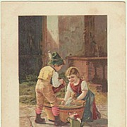 1900: Vintage Postcard. Kids bathing their Dolls.