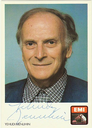 Yehudi Menuhin Autograph: Hand-signed EMI Card. CoA